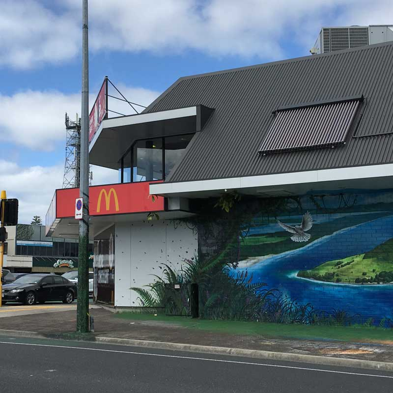 Commercial solar hot water installation at McDonalds in tauranga