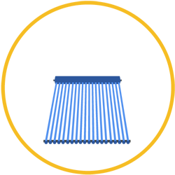compact solar hot water icon